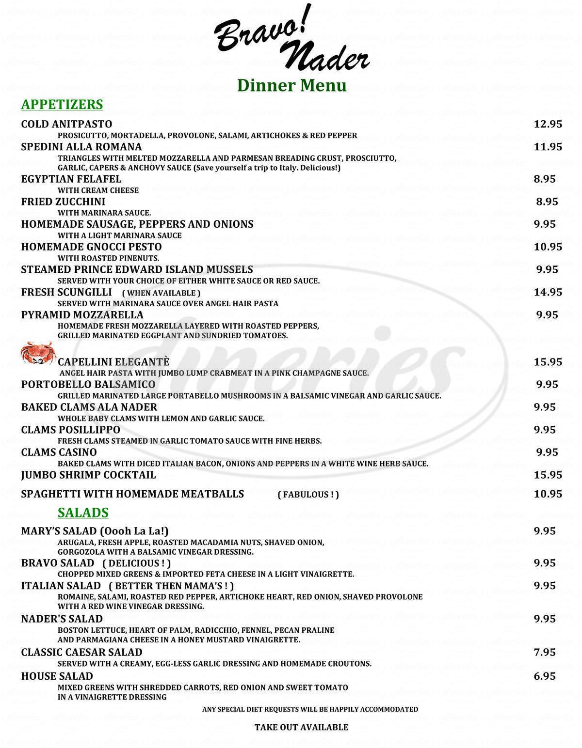 menu for Bravo Nader