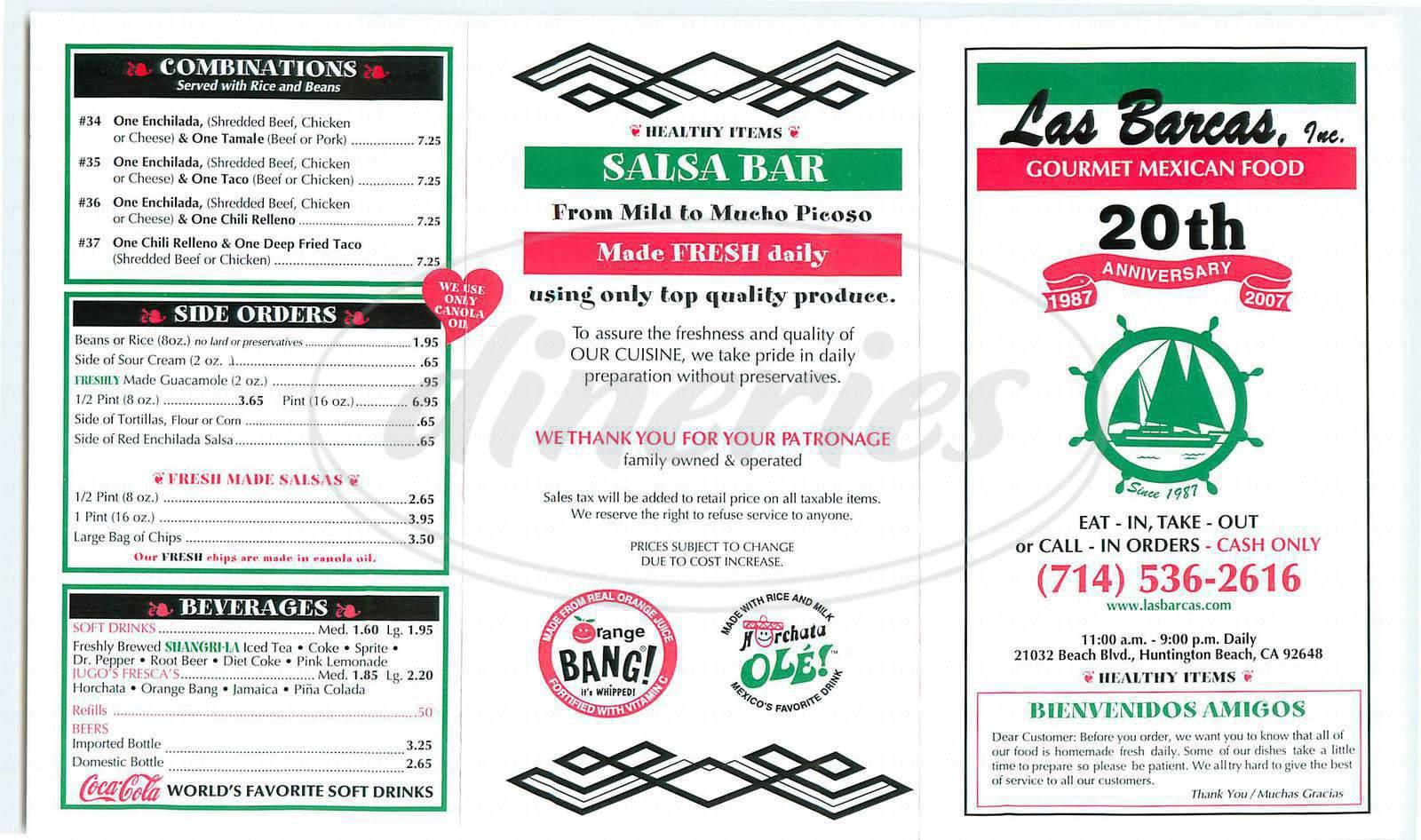 menu for Las Barcas