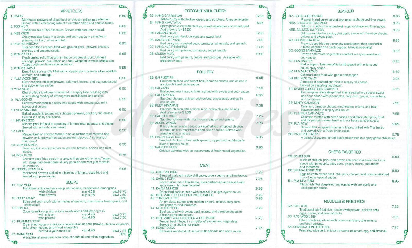 menu for Neecha Thai Cuisine