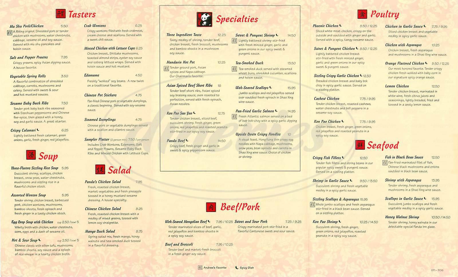 menu for Panda Inn