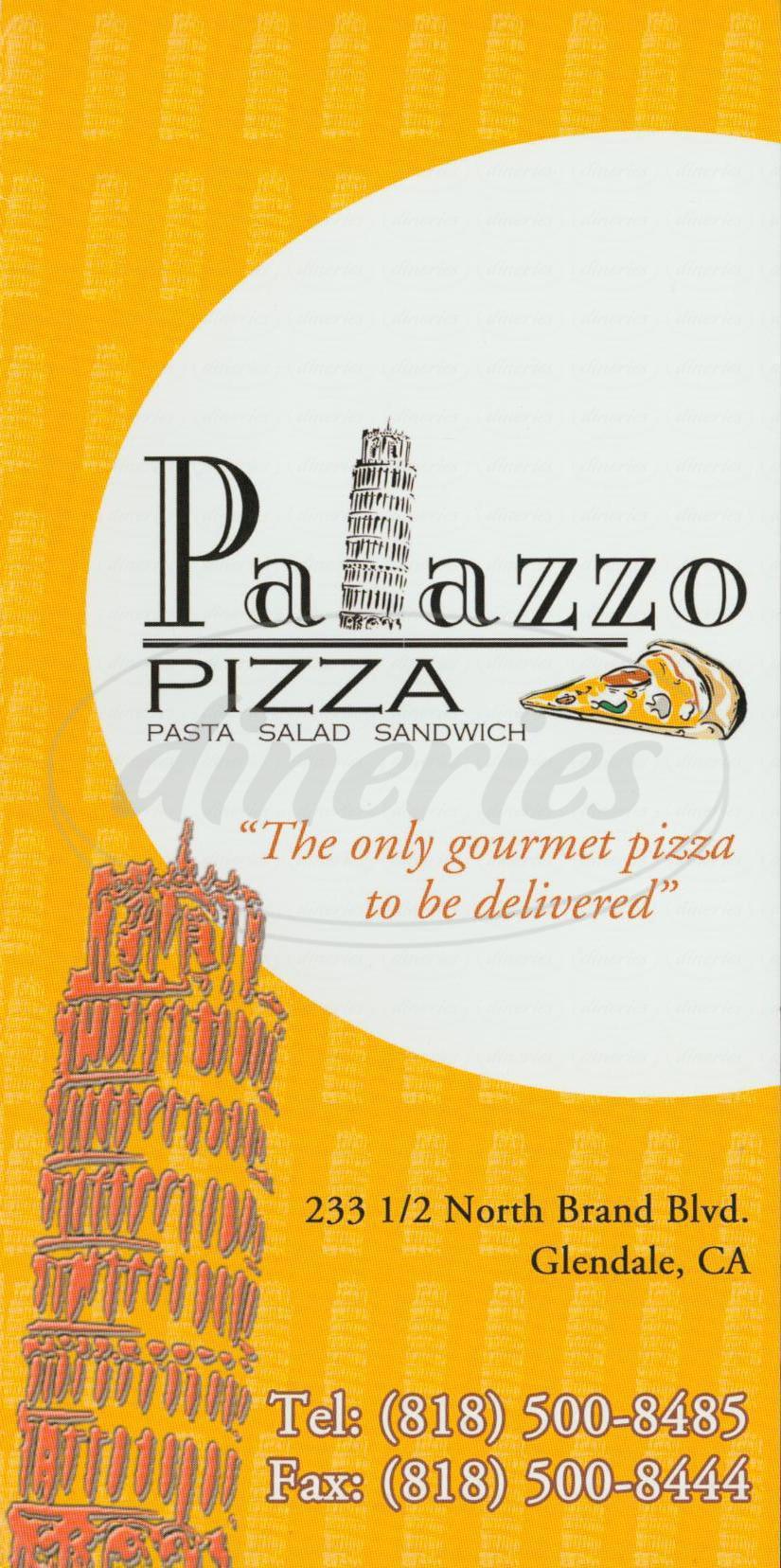 menu for Palazzo Pizza