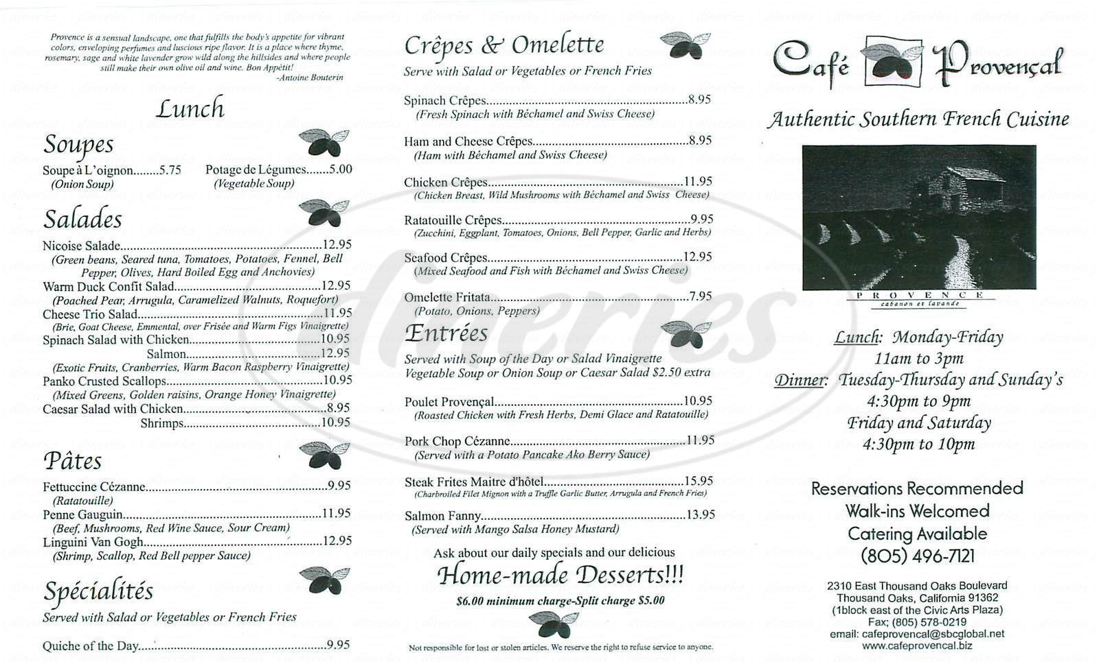 menu for Café Provencal