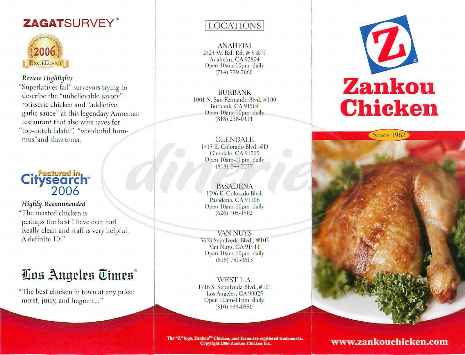 menu for Zankou Chicken