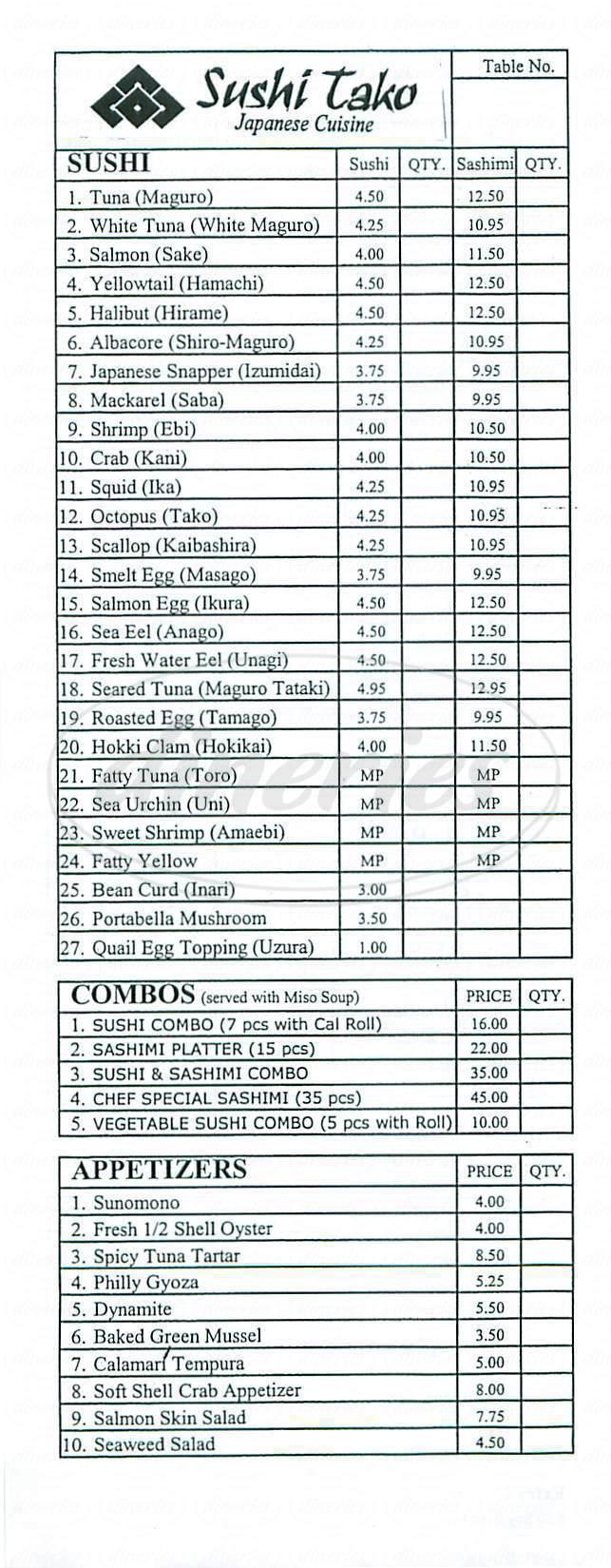 menu for Sushi Tako
