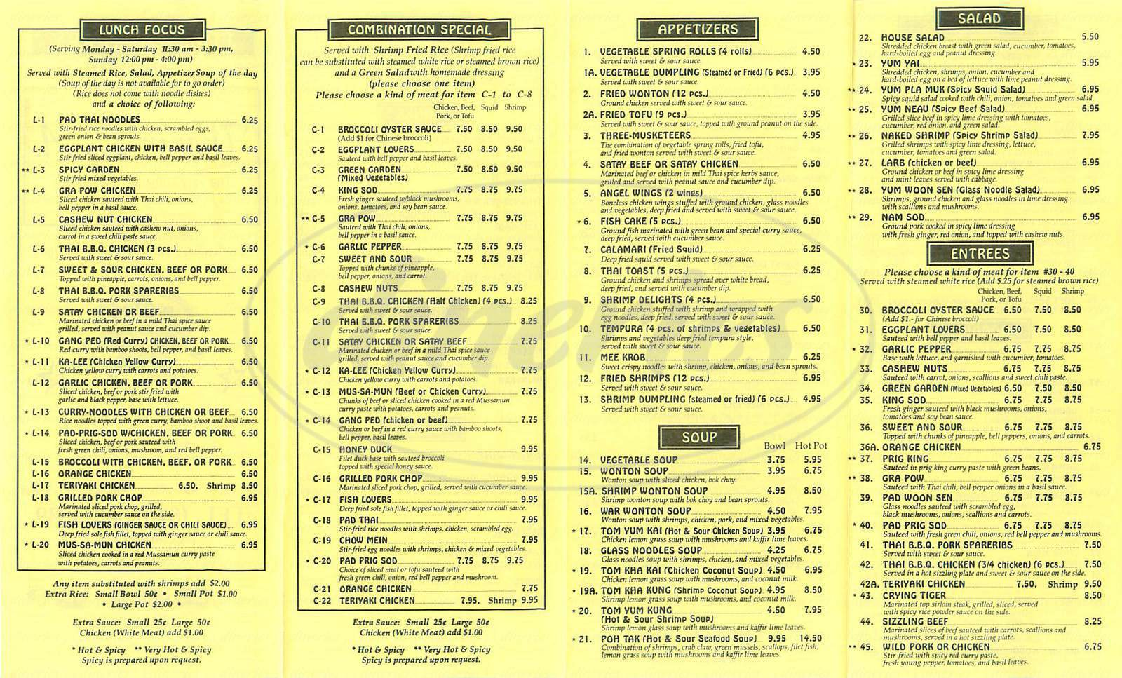 menu for Thai In LA