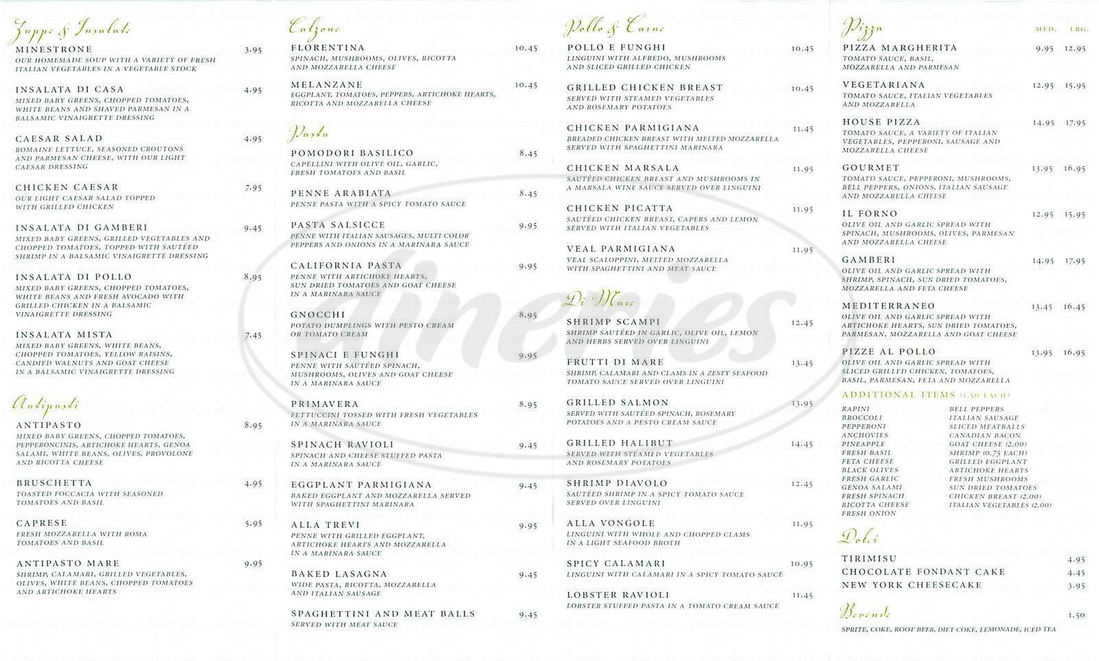 menu for Italy's Little Kitchen