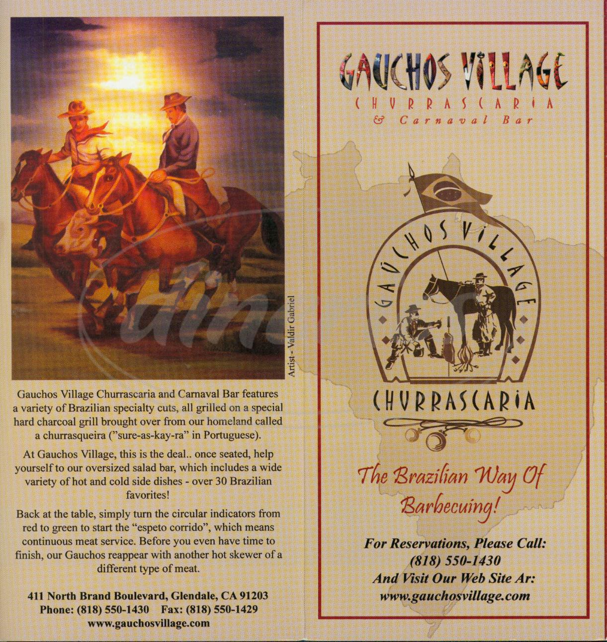 menu for Gauchos Village