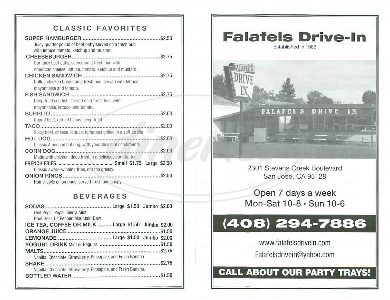 menu for Falafels Drive In