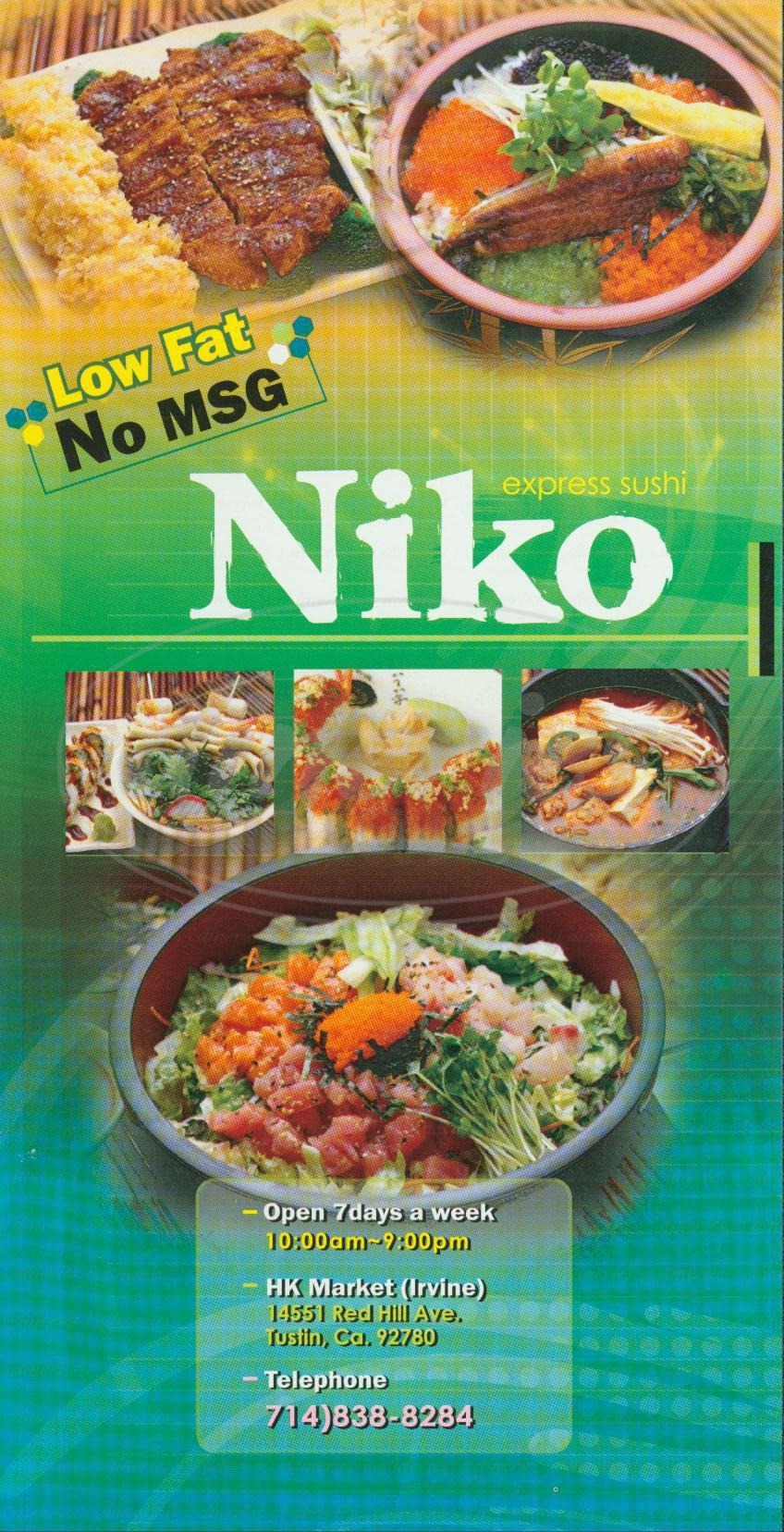 menu for Niko Express Sushi