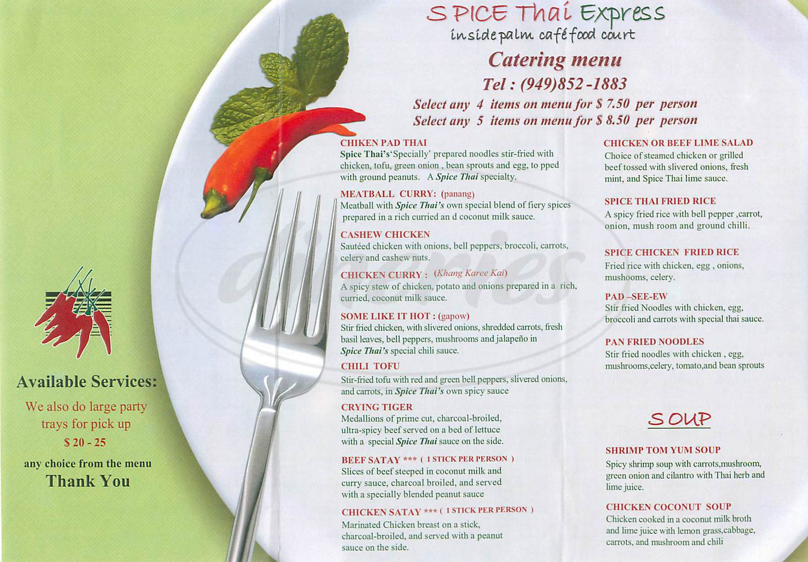 menu for Spice Thai Express
