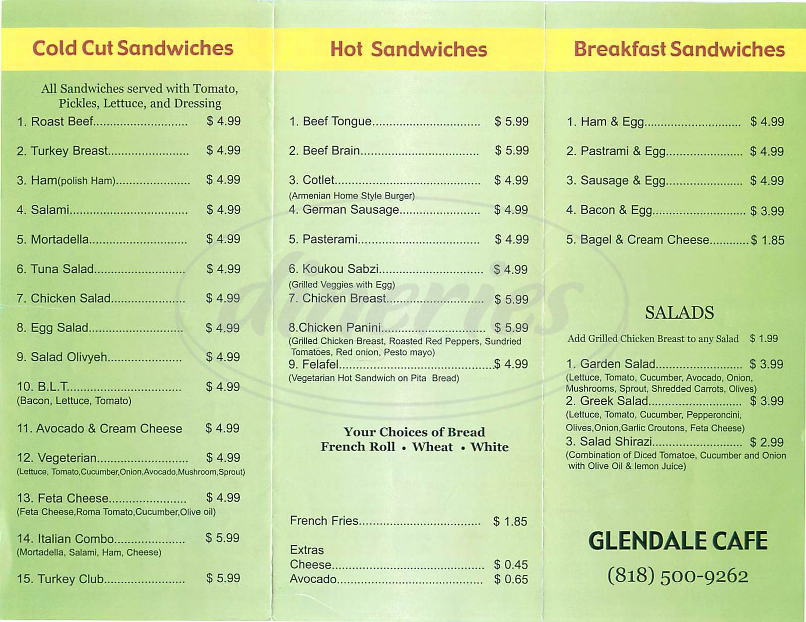 menu for Glendale Cafe
