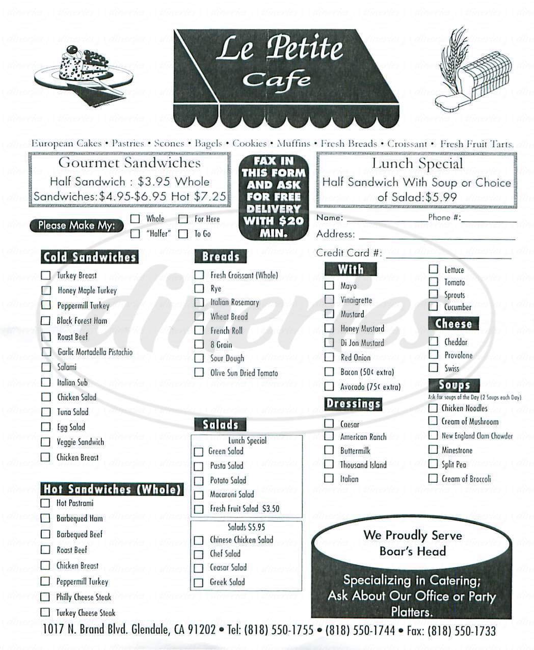 menu for Le Petite Cafe