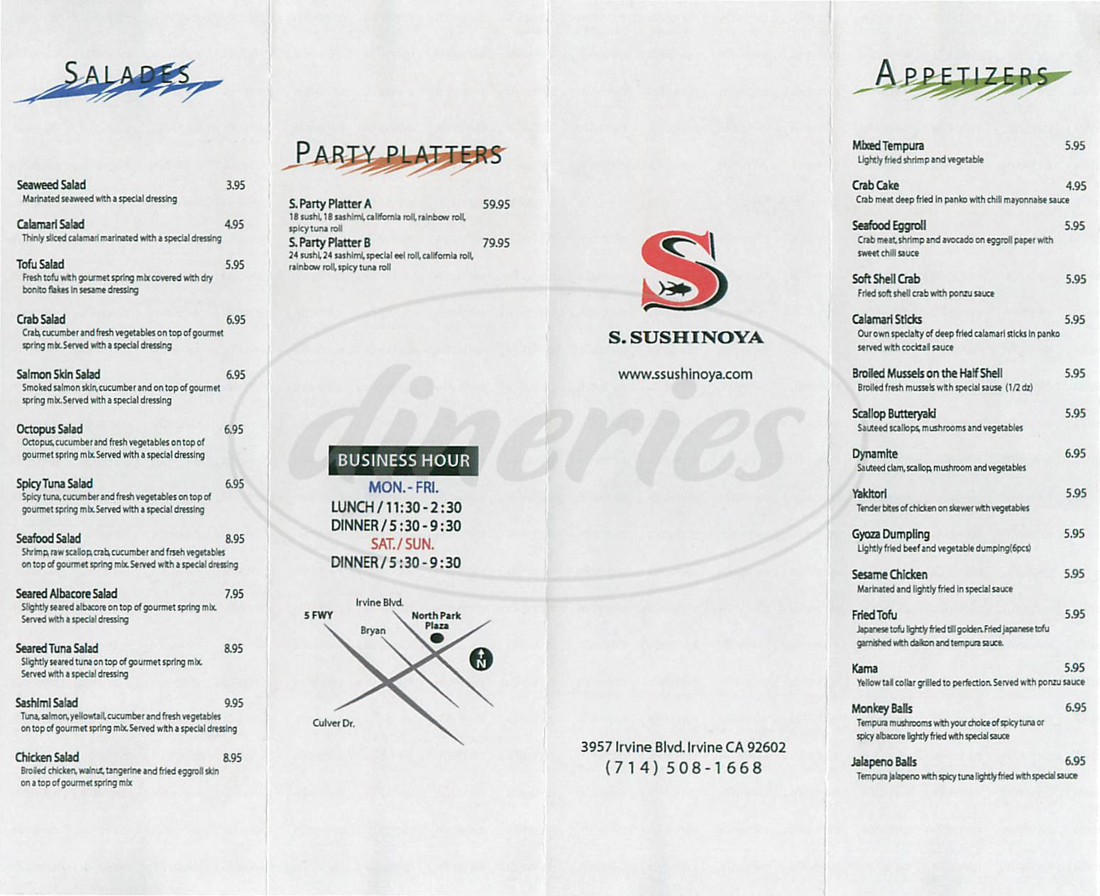 menu for S. Sushinoya