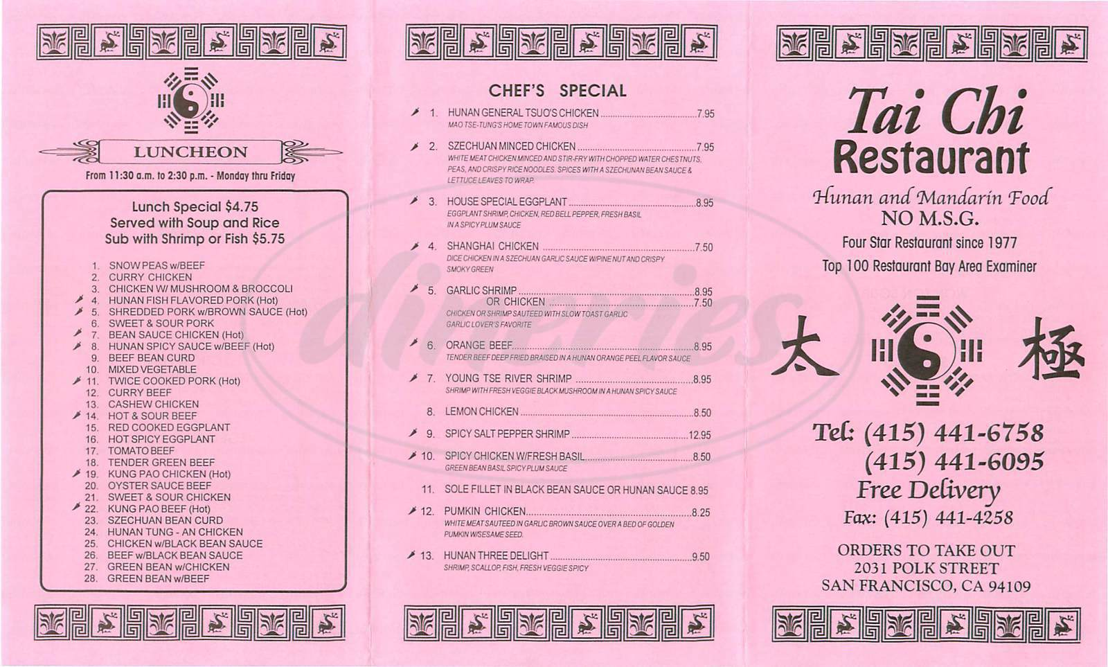 menu for Tai Chi Restaurant