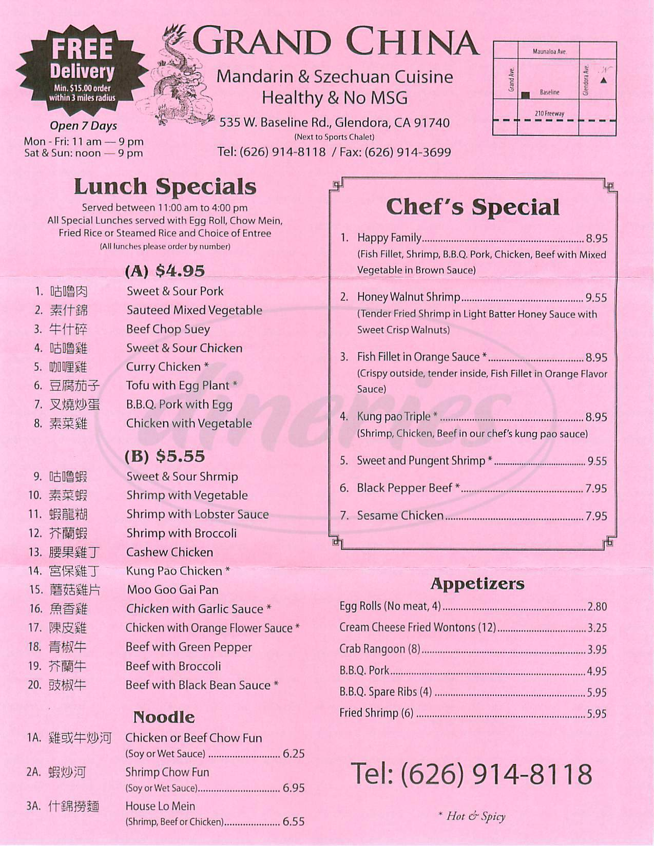menu for Grand China