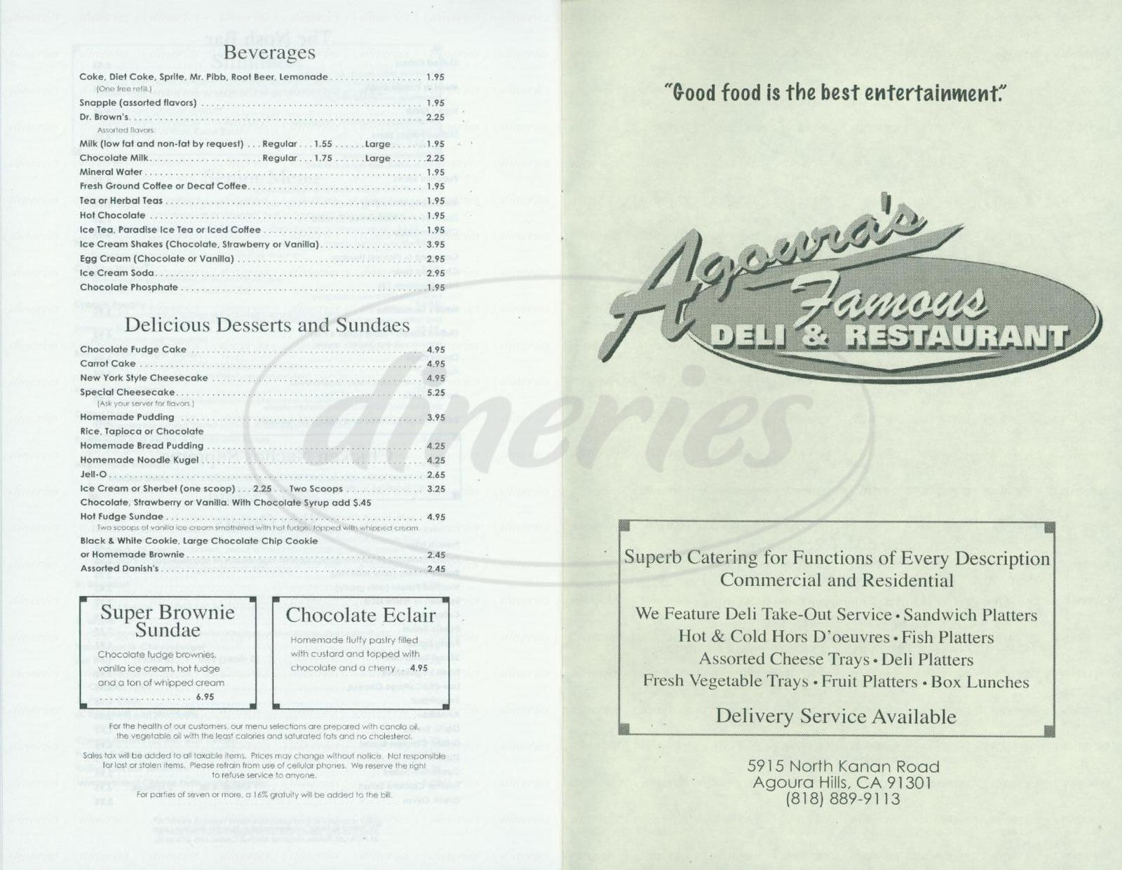 menu for Agouras Famous Deli & Restaurant