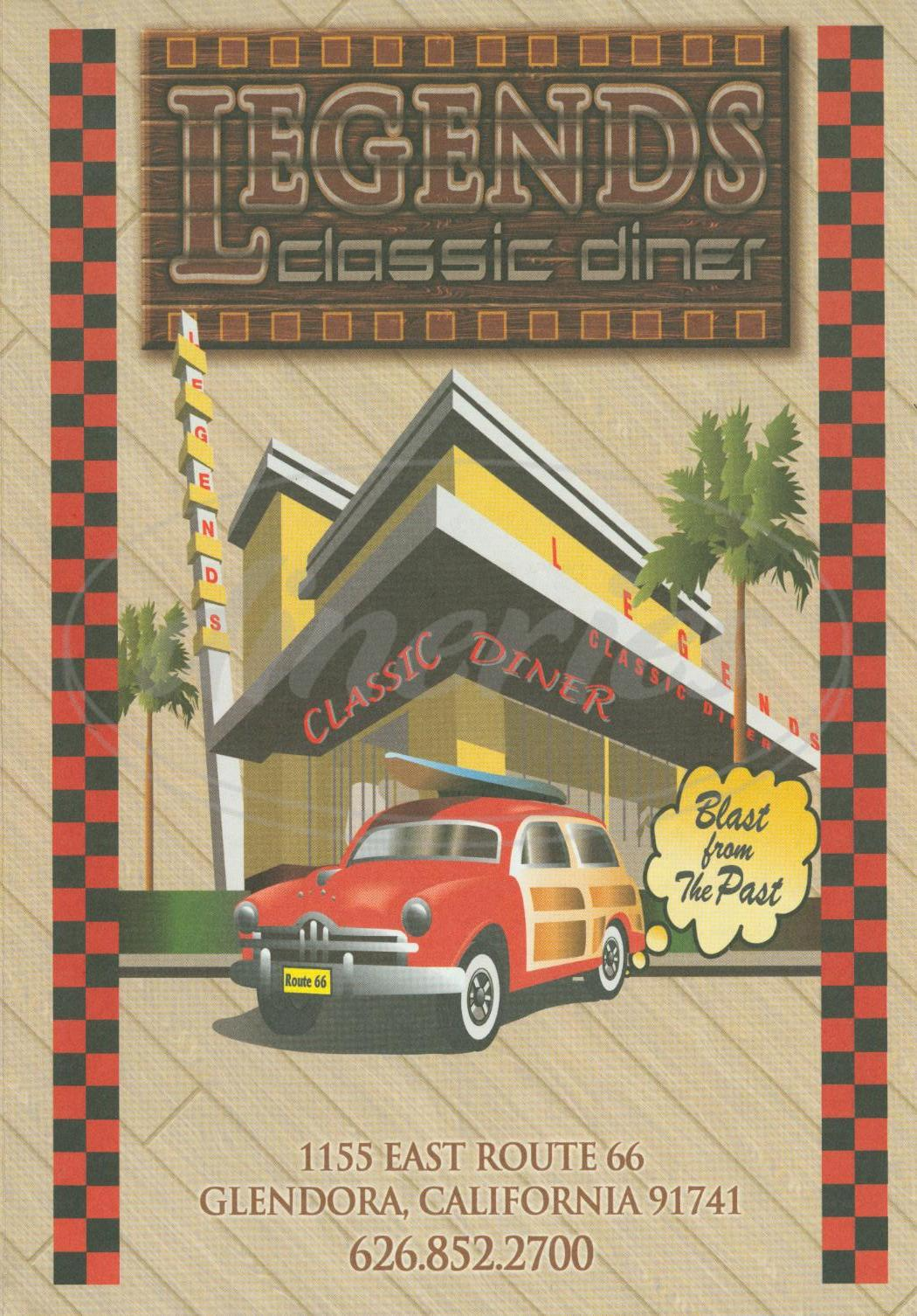 menu for Legends Classic Diner