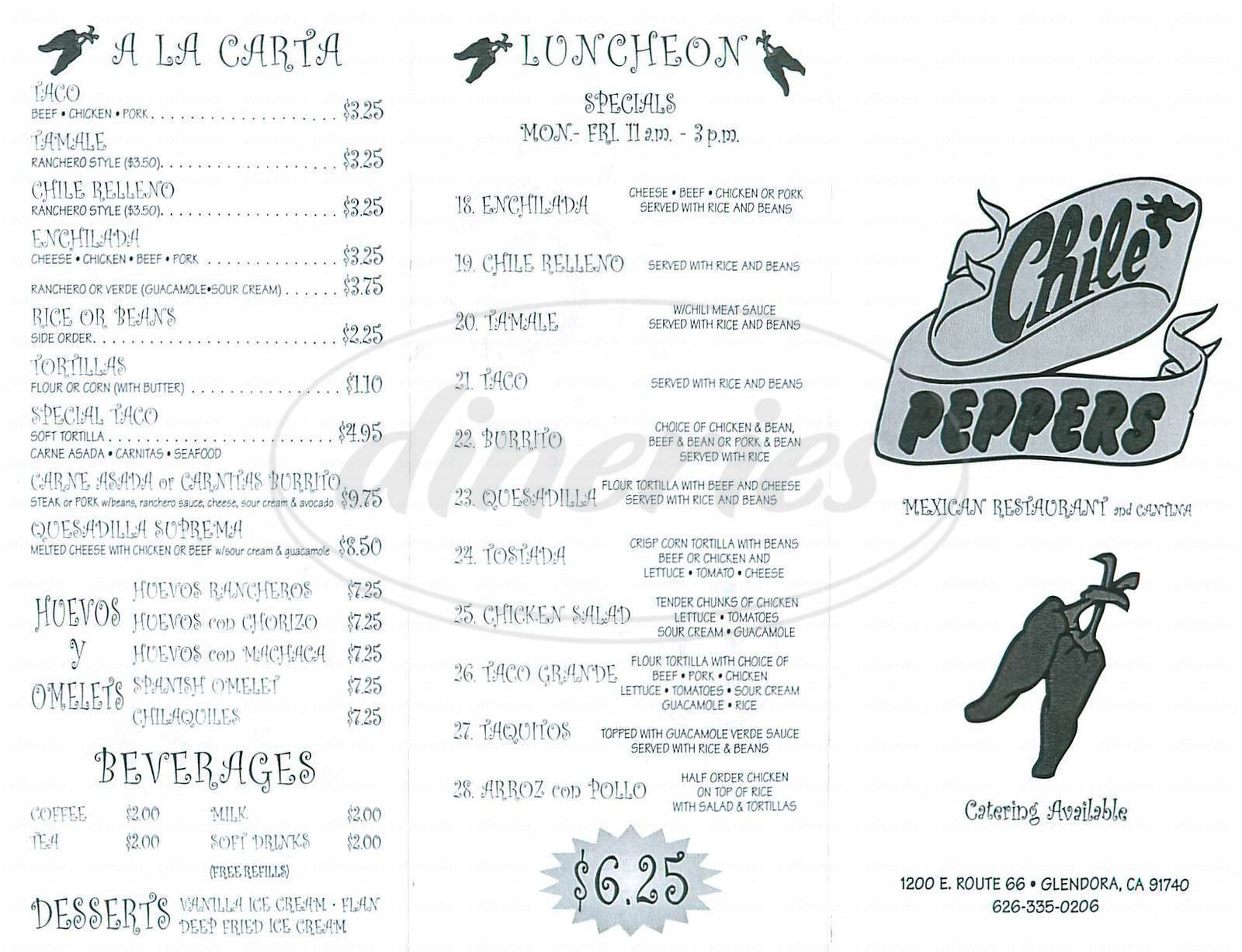 menu for Chile Peppers
