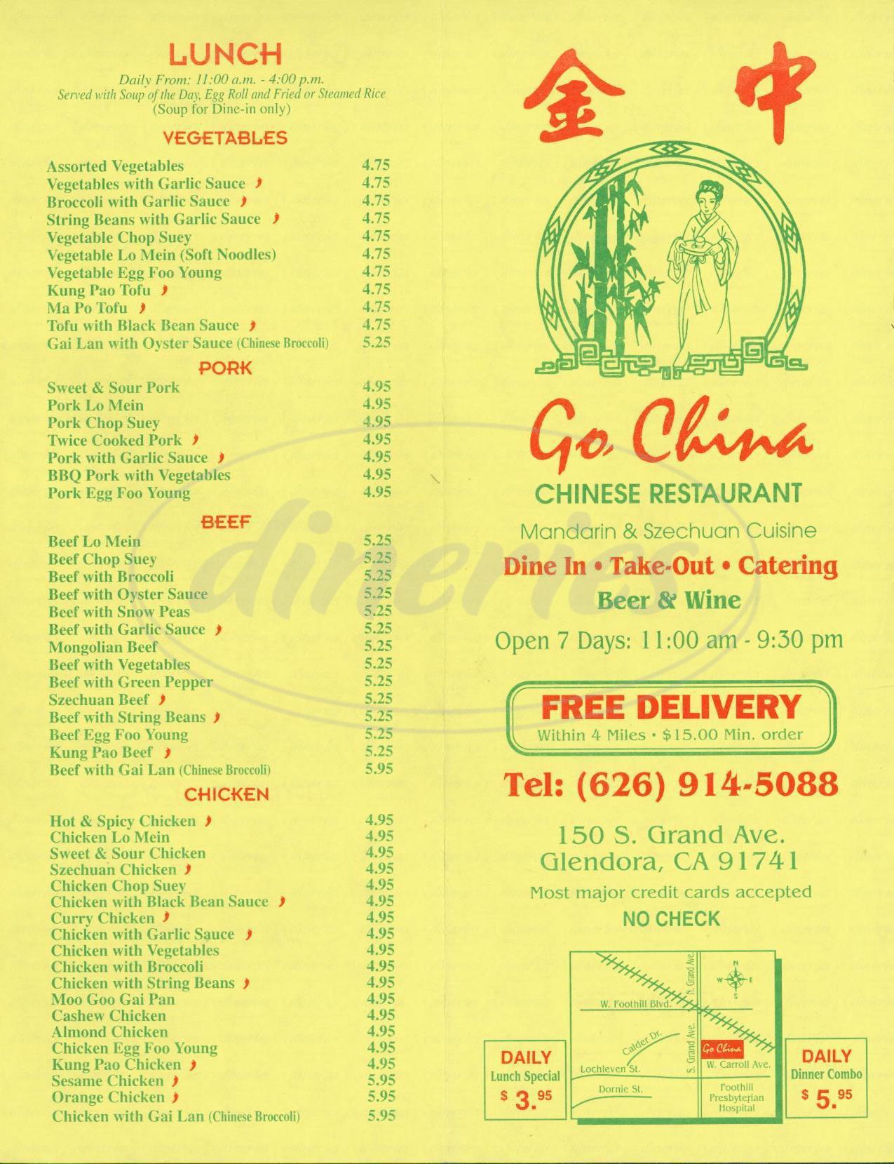 menu for Go China