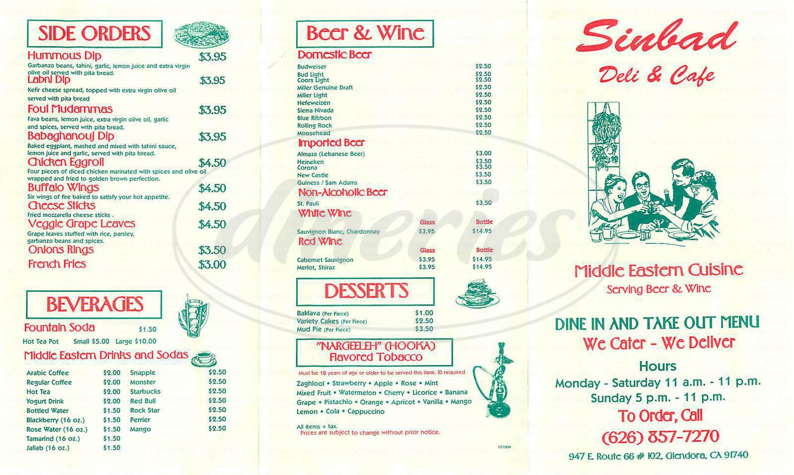 menu for Sinbad Deli & Café