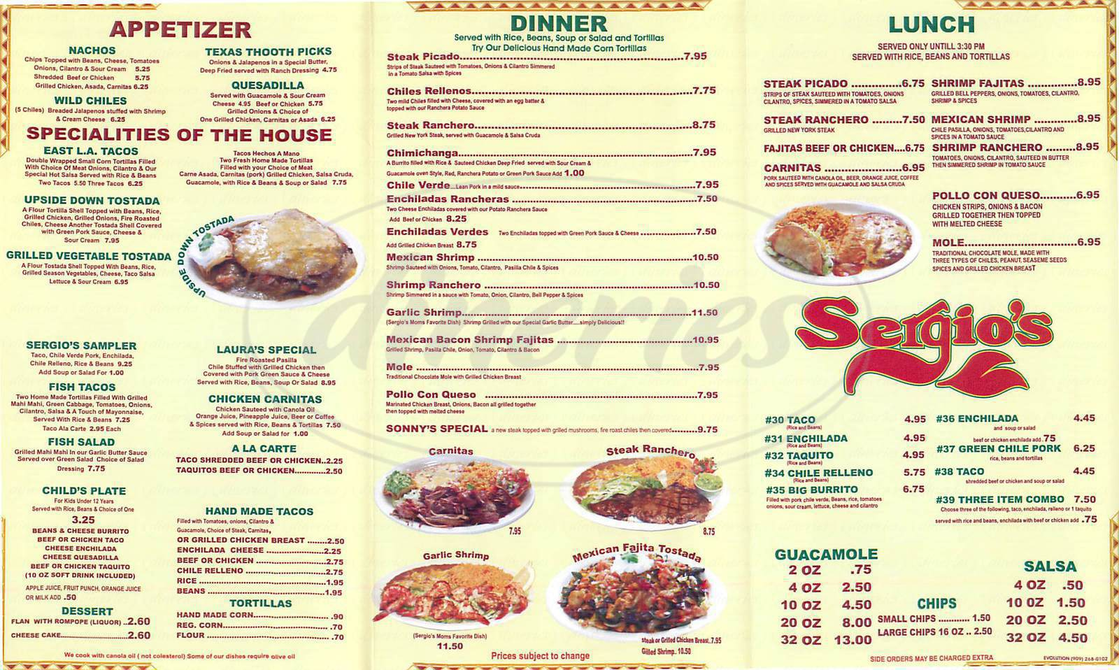 menu for Sergio's Mexican Restaurant