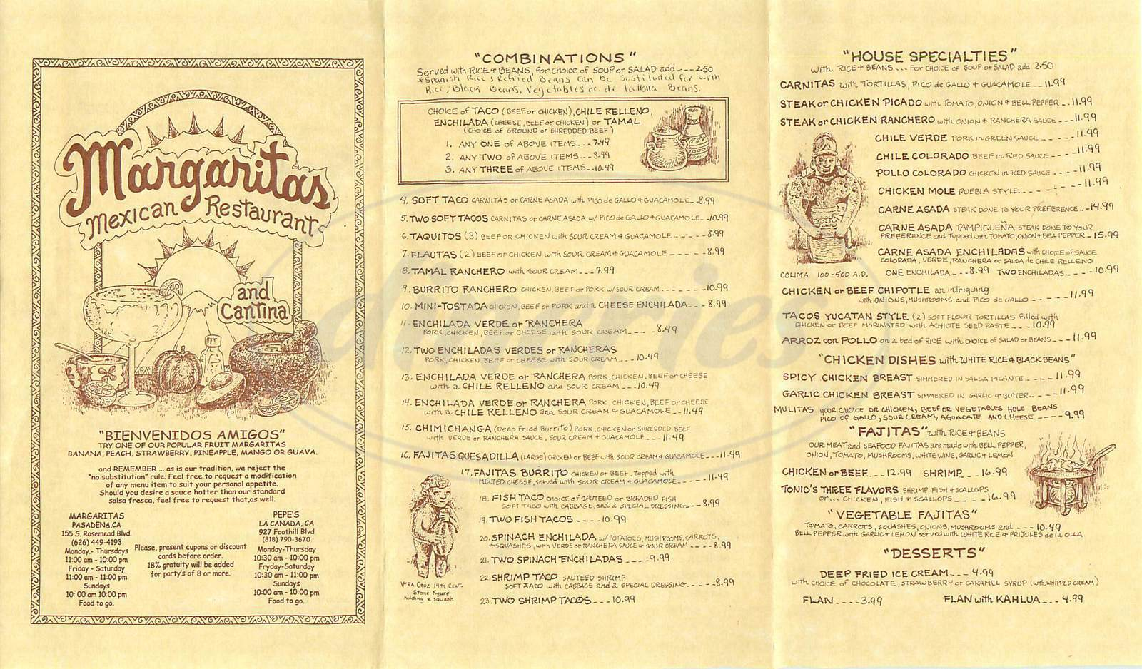 menu for Margaritas Mexican Restaurant