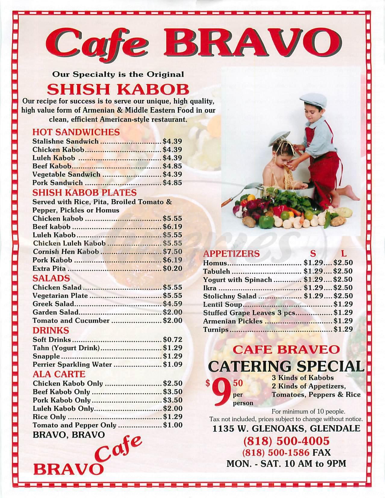 menu for Café Bravo