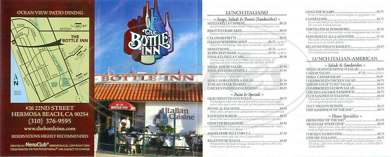 menu for The Bottle Inn