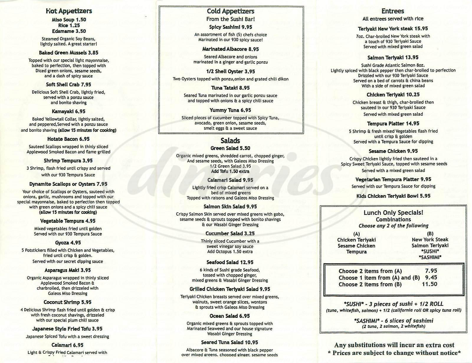 menu for 930 Sushi