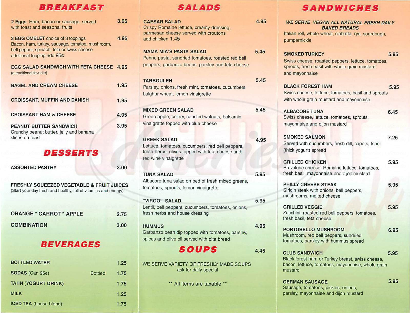 menu for Basement Café