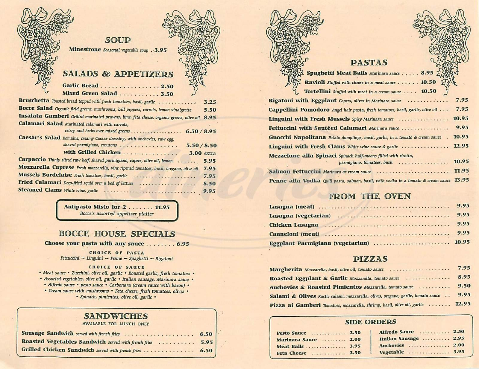 menu for Bocce Café Italian Restaurant