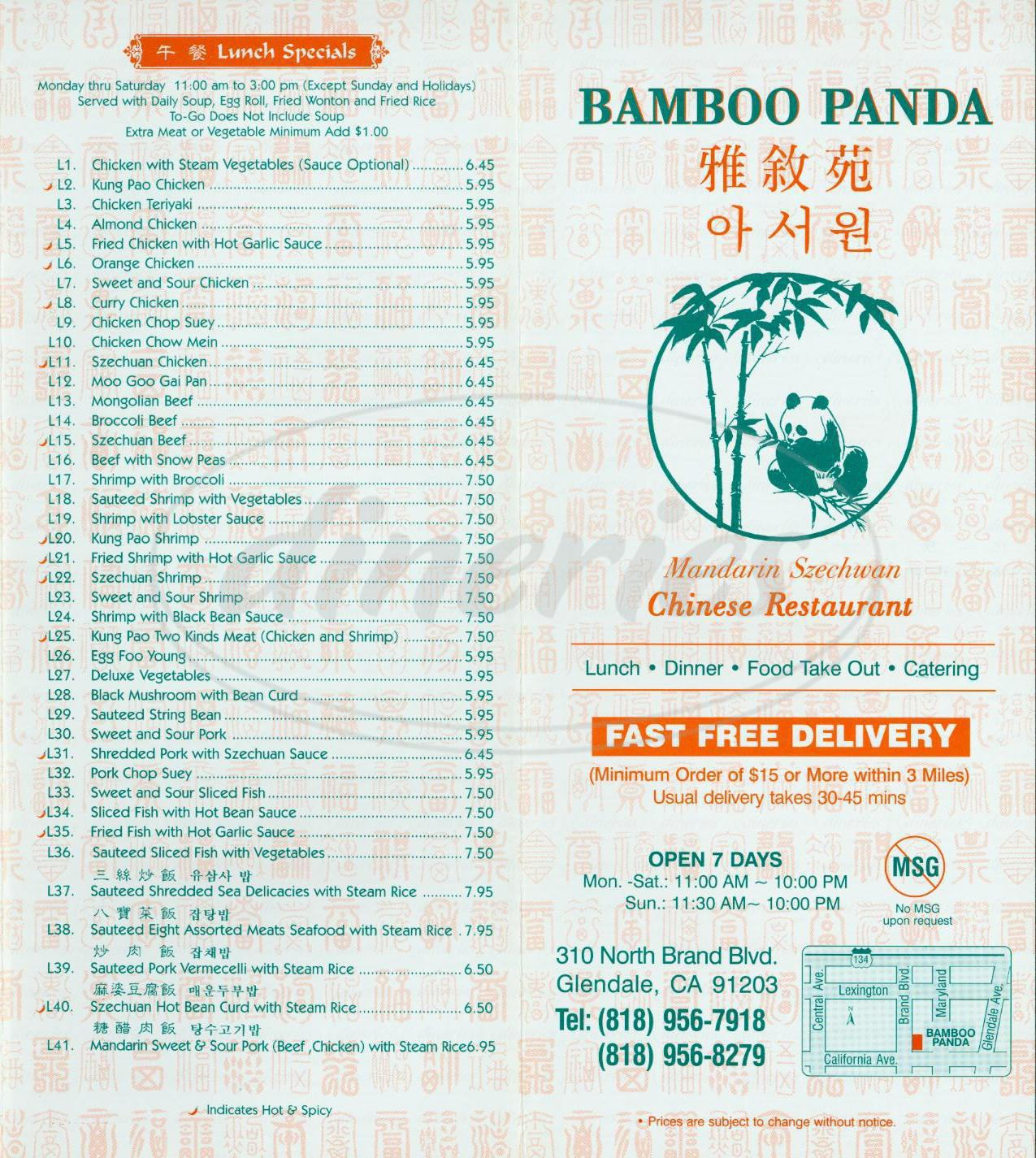 menu for Bamboo Panda