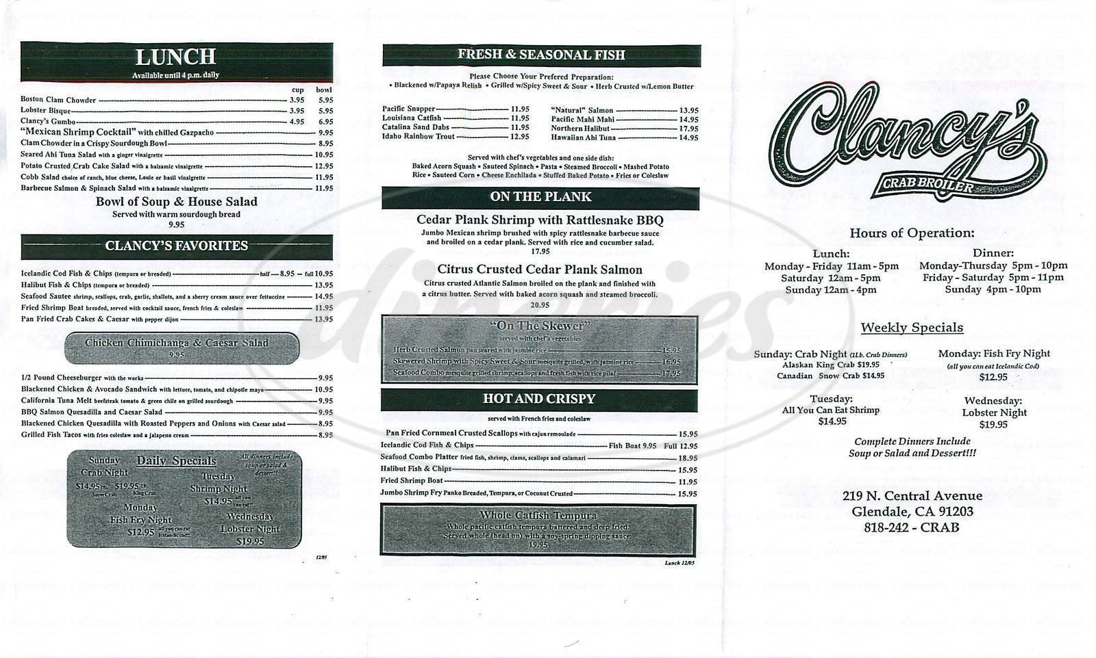 menu for Clancys Crab Broiler