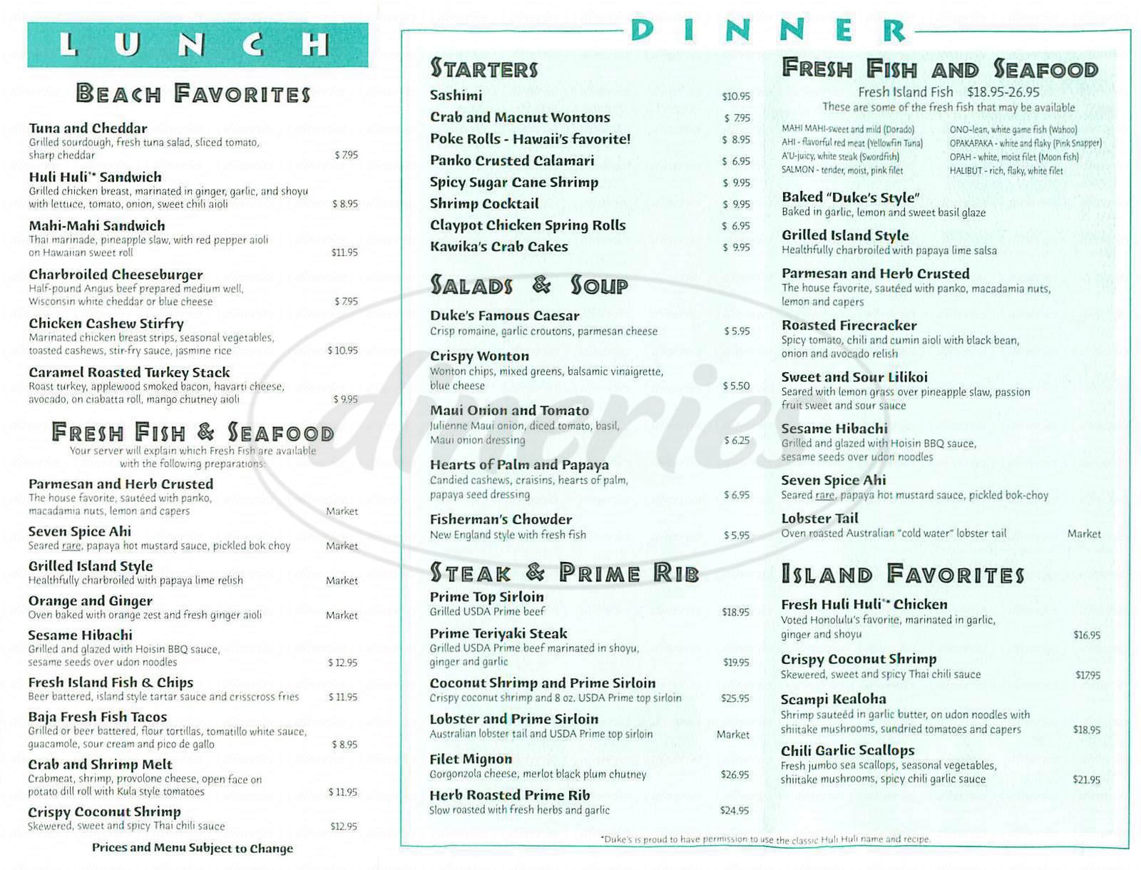 menu for Dukes