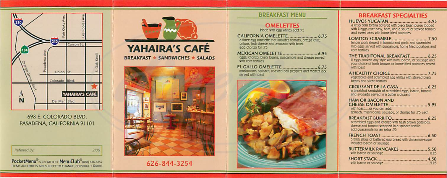 menu for Yahairas Café