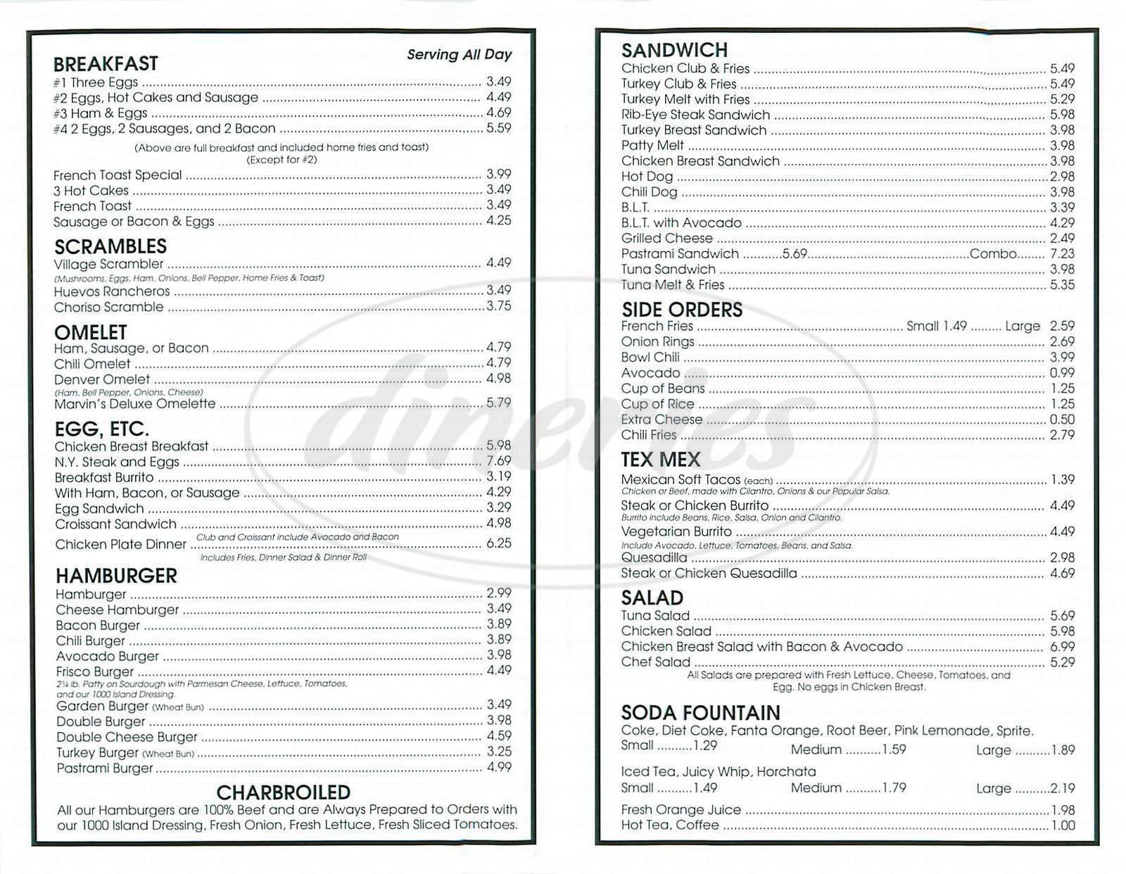 menu for Marvin's Diner