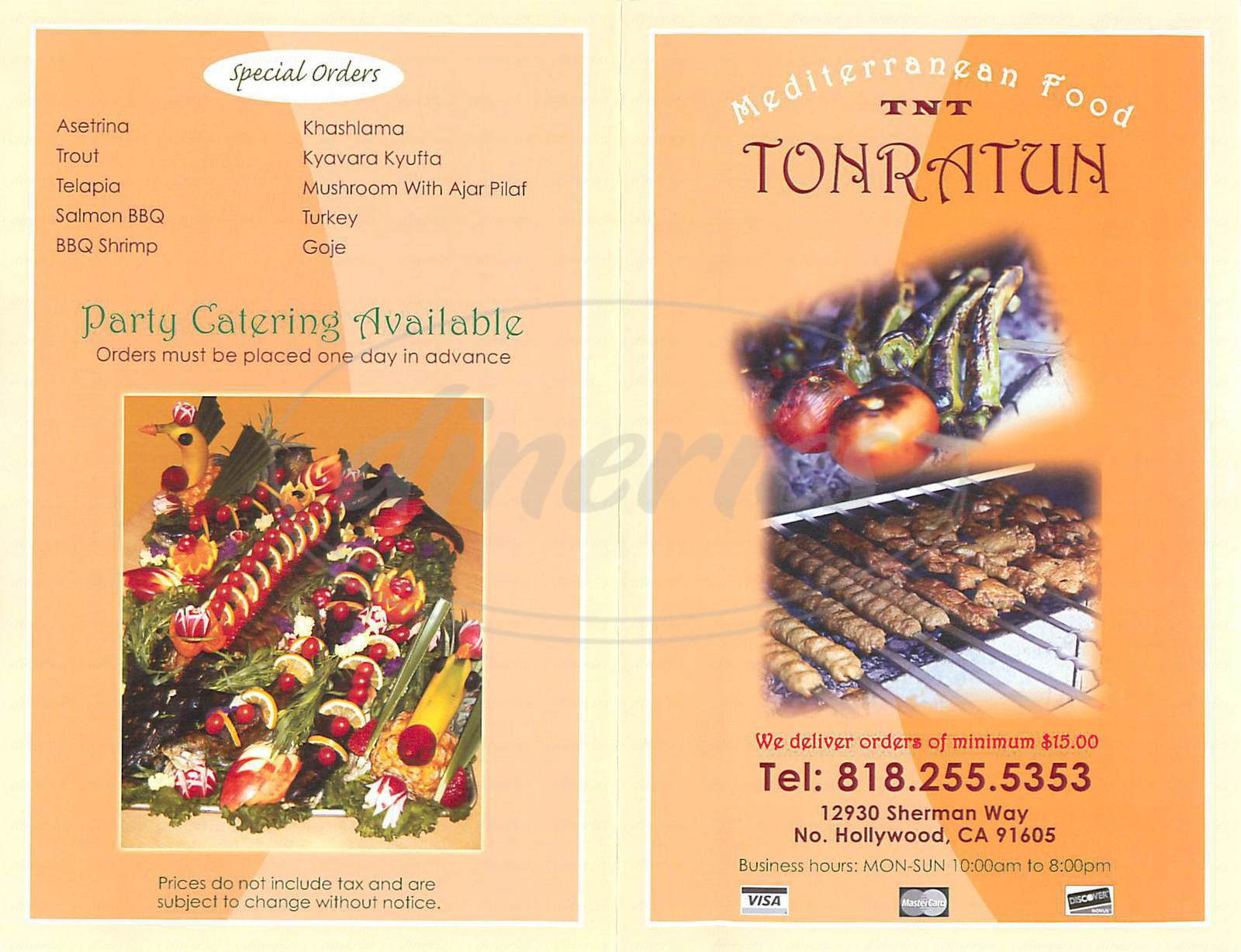 menu for Tonratun