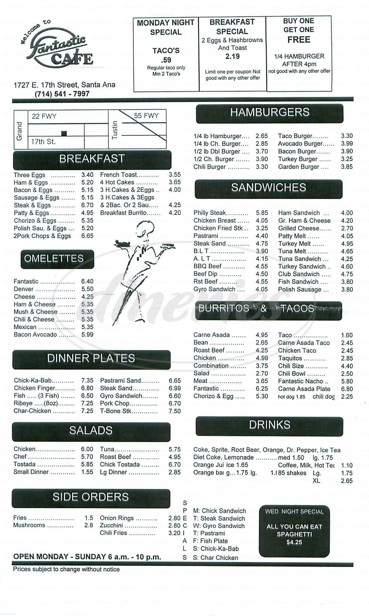 menu for Fantastic Café