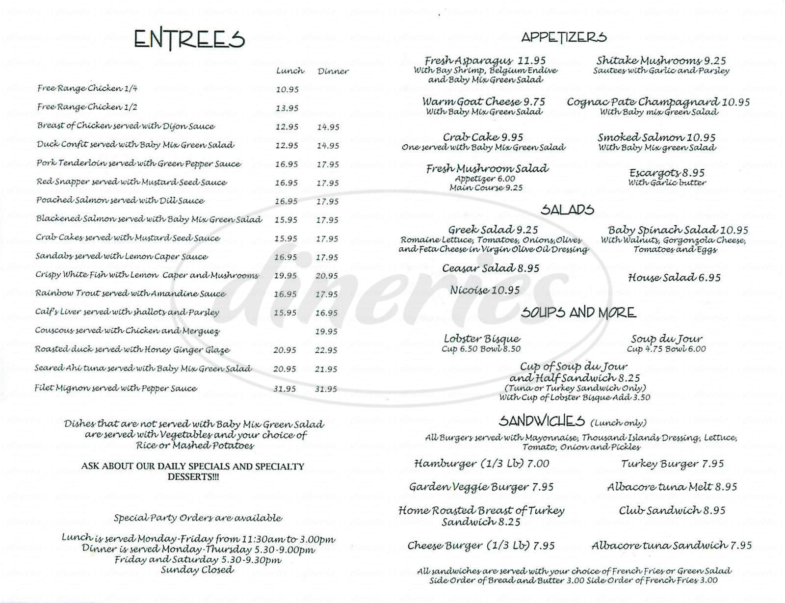 menu for Le Petit Cafe