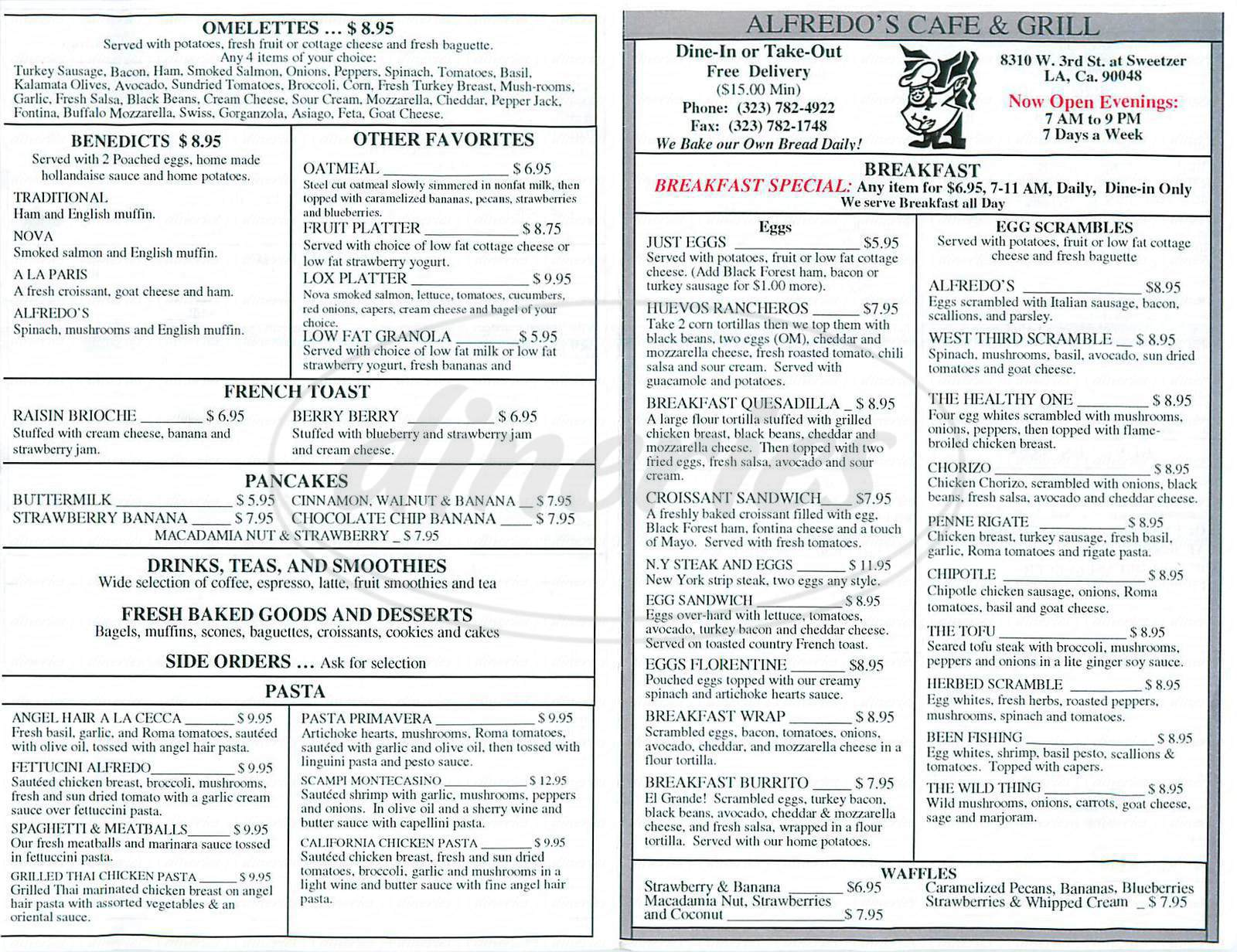 menu for Alfredo's Cafe & Grill