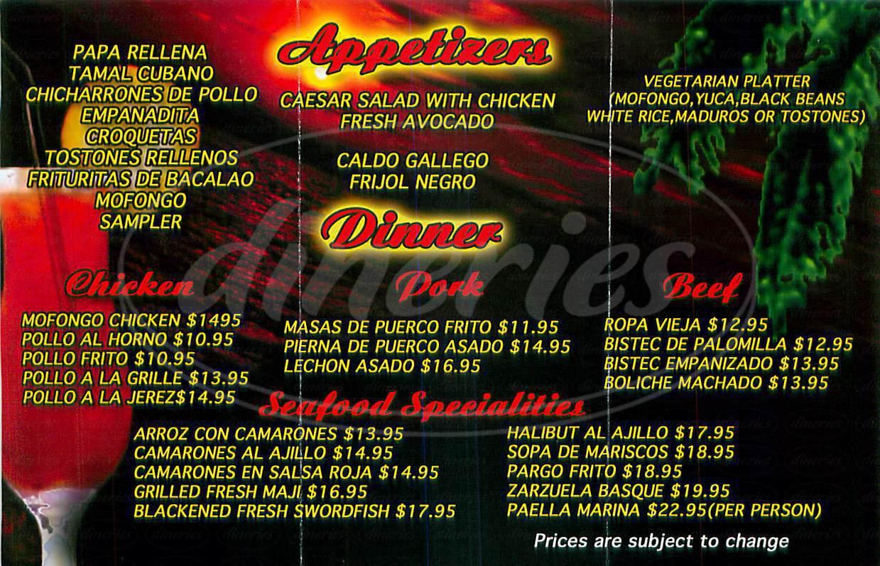 menu for Cuban Pete's Caribbean Grill