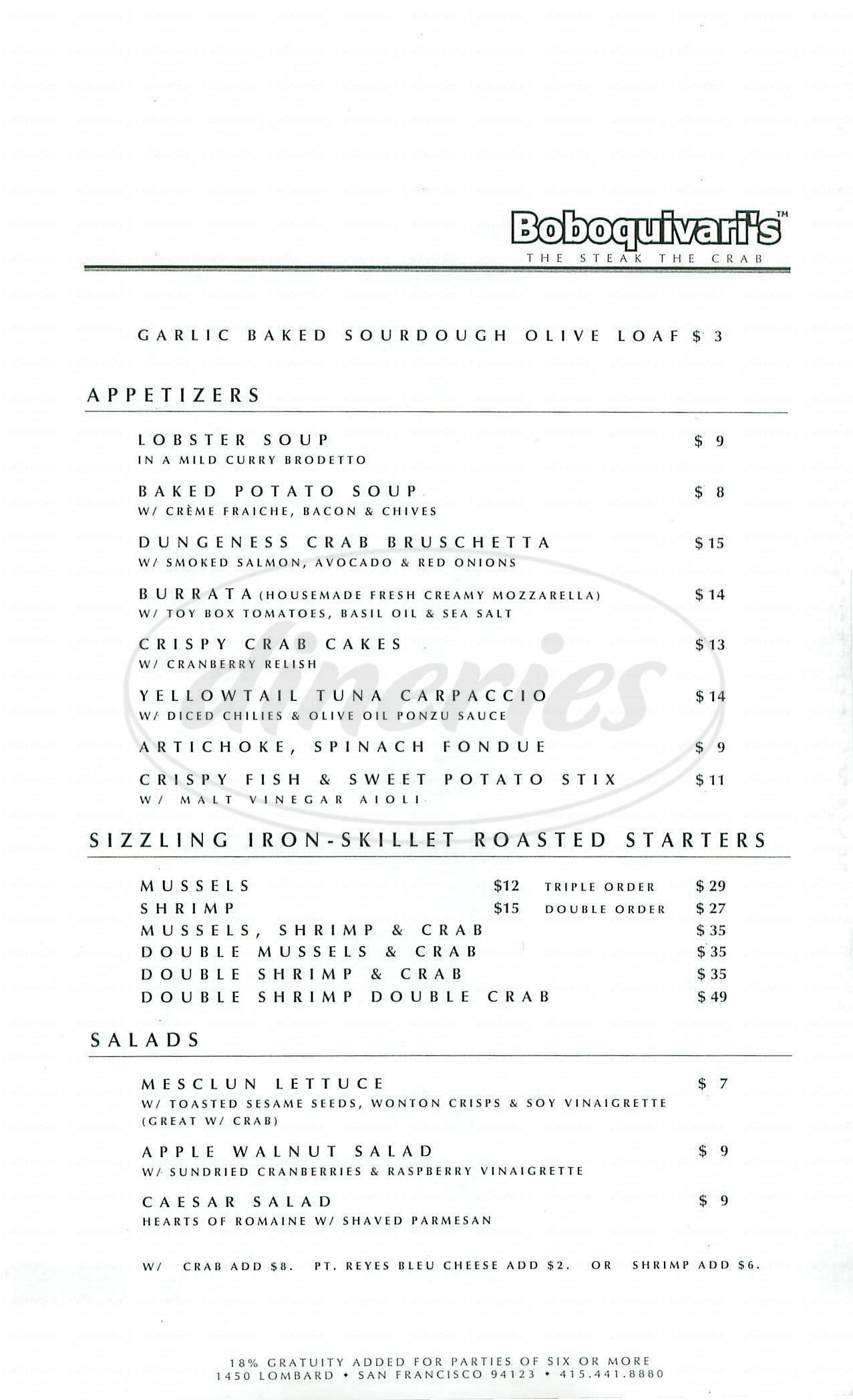 menu for Boboquivari's