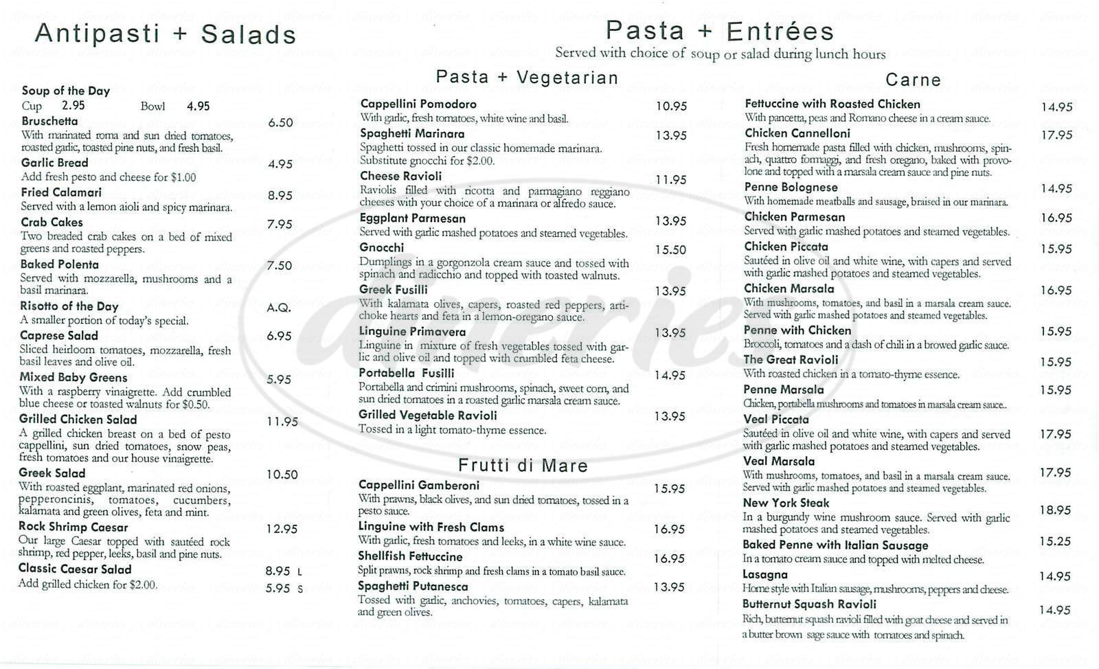 menu for Mio Vicino Restaurant
