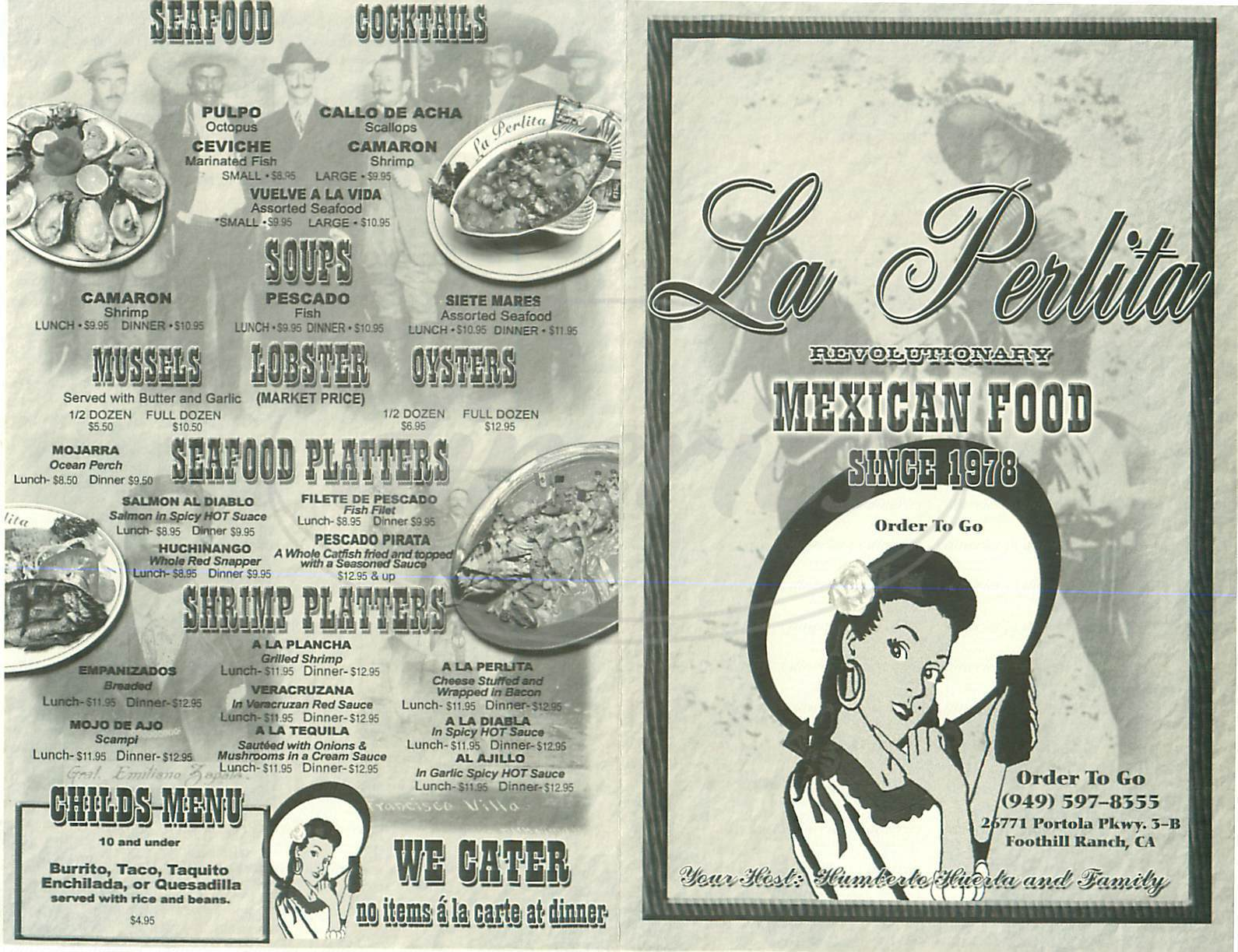 menu for La Perlita