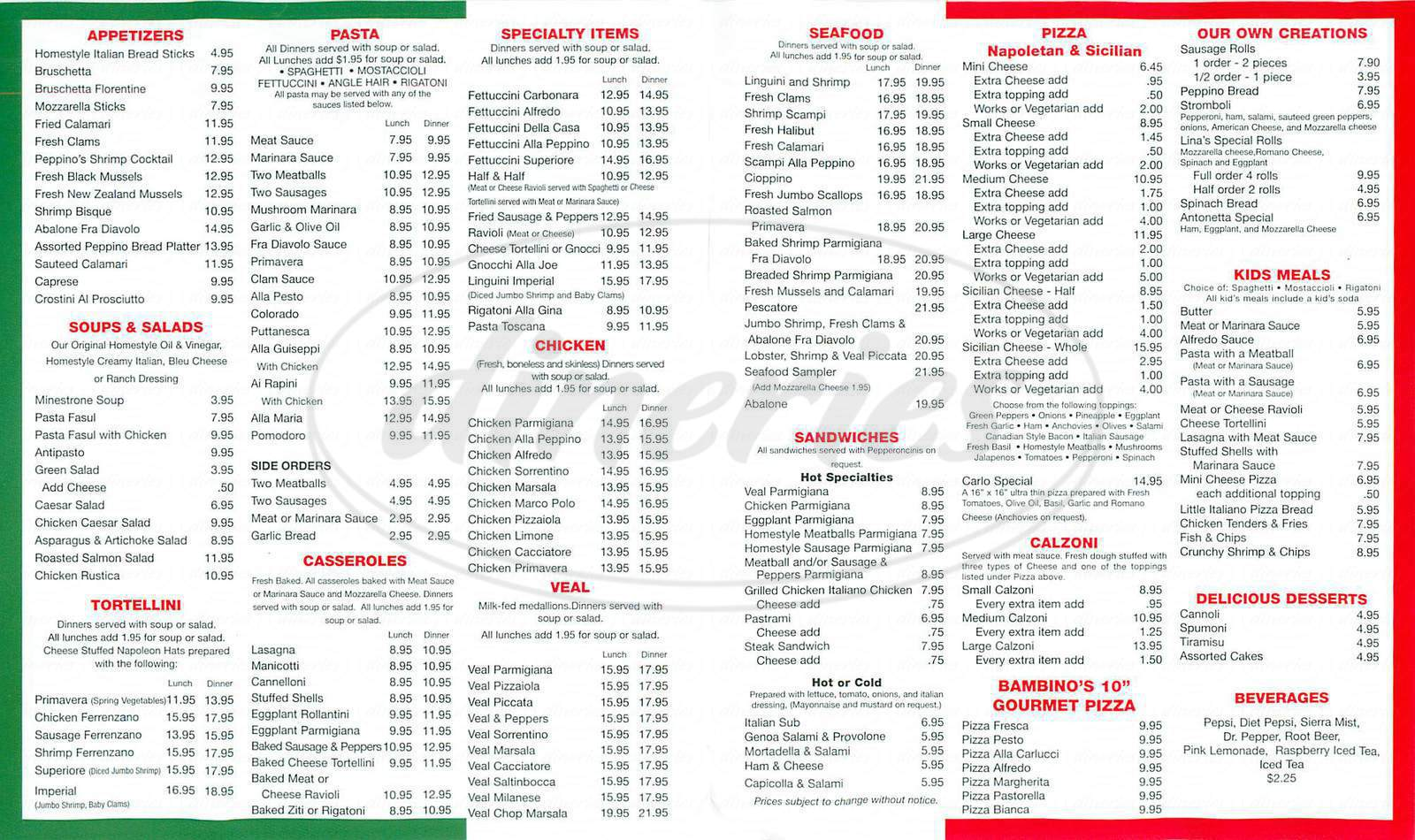 menu for Peppino's Italian Family Restaurant