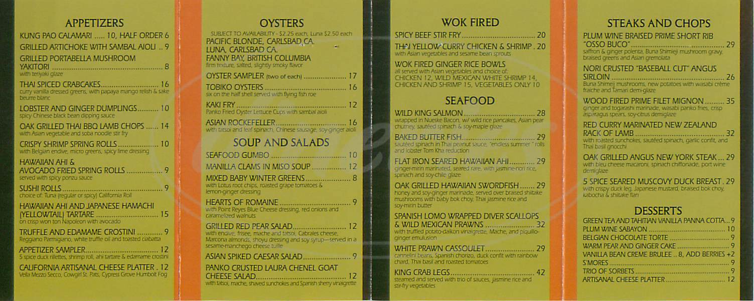menu for Oysters Restaurant