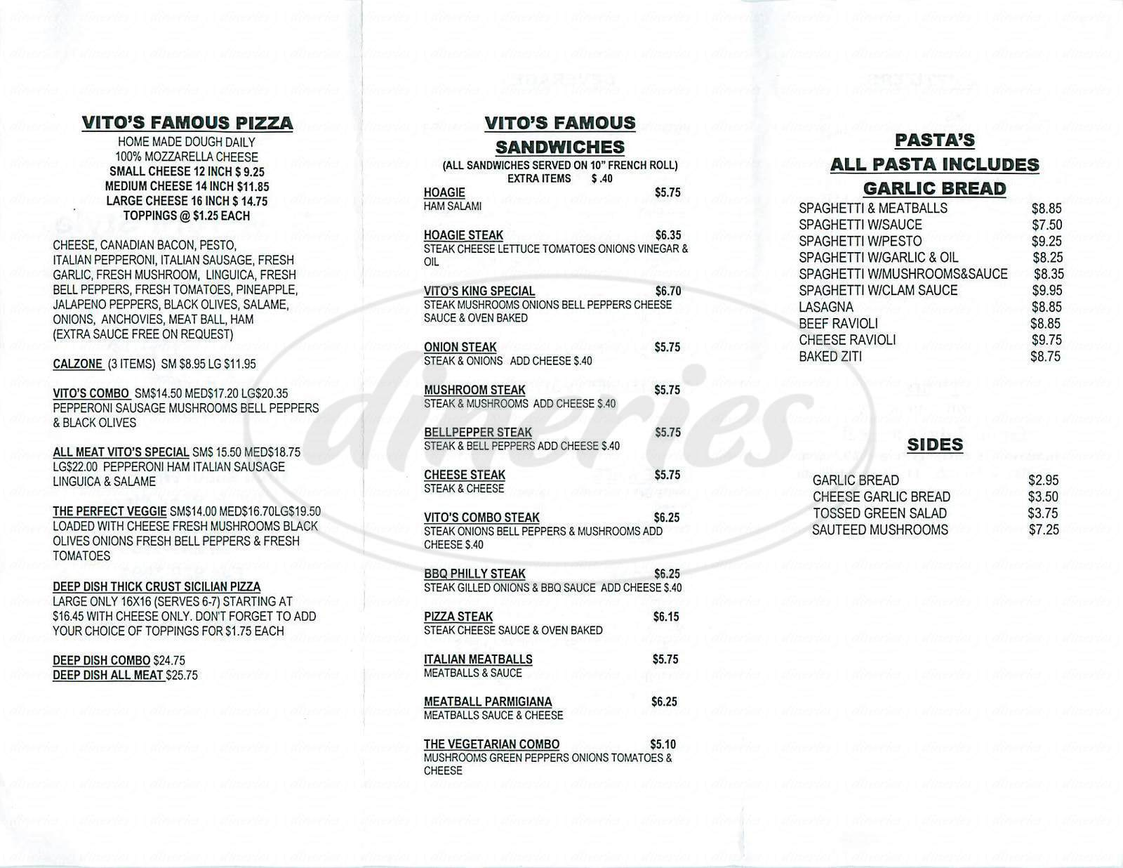 menu for Vitos New York Style Pizza