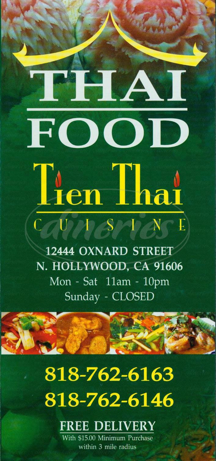 menu for Tien Thai