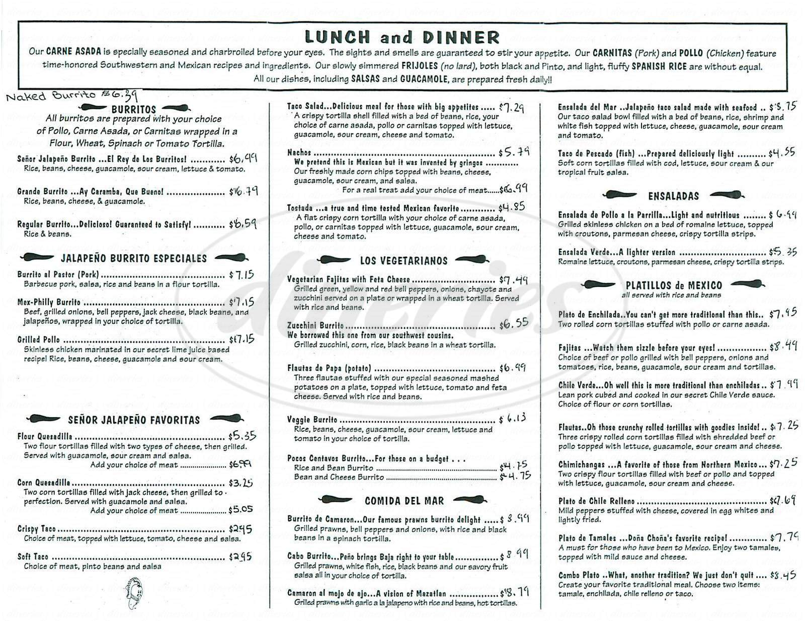 menu for Senor Jalapeno