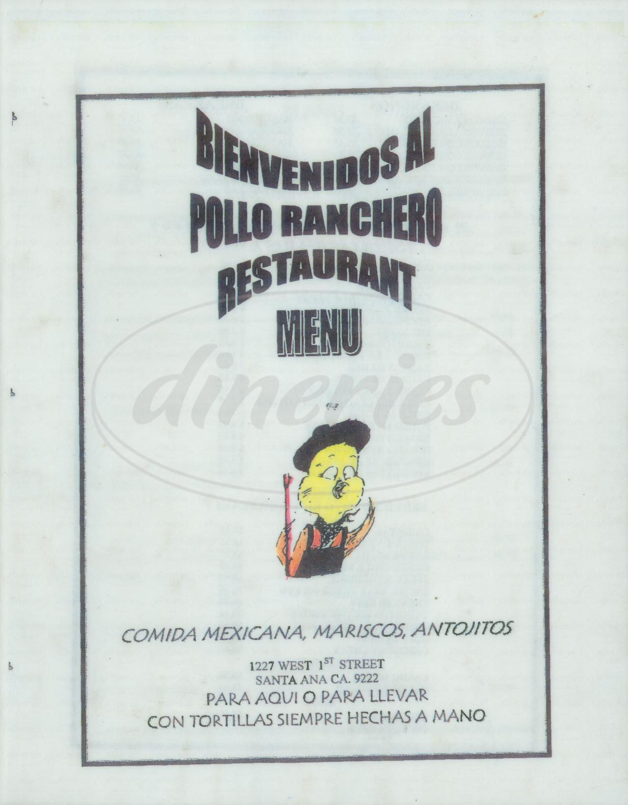 menu for Pollo Ranchero Restaurant